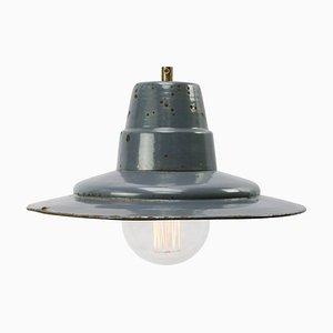 Mid-Century Industrial Blue Enamel Factory Pendant Lamp