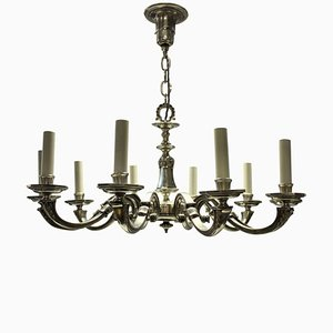 Antique Silver-Plated 10-Branch Chandelier