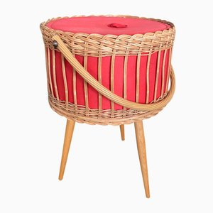 Vintage Rattan Sewing Basket, 1950s