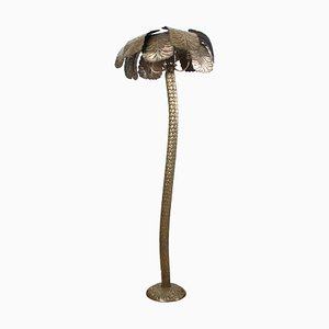 French Brass Palm Tree Floor Lamp, 1950s