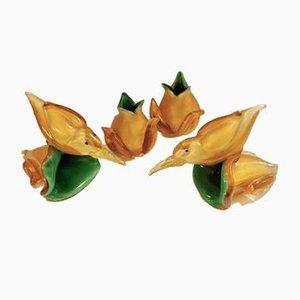 Aves y flores de cristal de Murano en verde dorado de Archimede Seguso