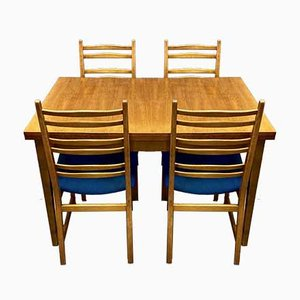High Dining Table & Chairs Set, 1950s, Set of 5