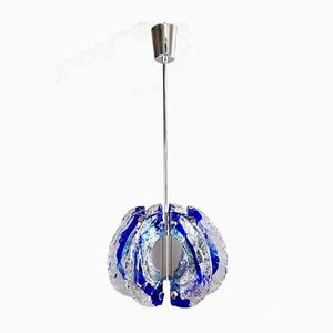 Italian Murano Glass & Steel Ceiling Lamp by Angelo Brotto for Esperia, 1970s