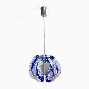 Italienische Murano Glas & Stahl Deckenlampe von Angelo Brotto für Esperia, 1970er