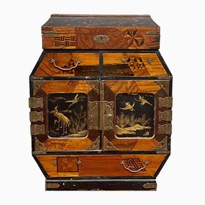 Antique Chinese Inlaid Wood Jewelry Box with Decorations in Relif, 1800s