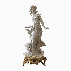 Figura de porcelana biscuit italiana vintage de porcelana y bronce de Barbella