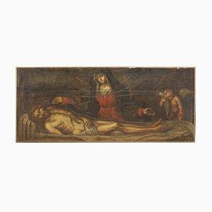 Panneau Antique du 17ème Siècle, Christ et Notre-Dame des Douleurs