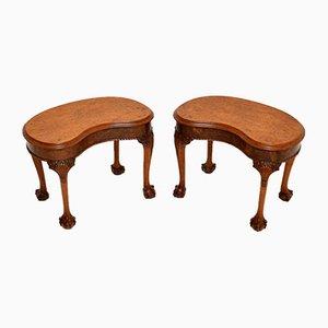 Antique Burr Walnut Side Tables, Set of 2