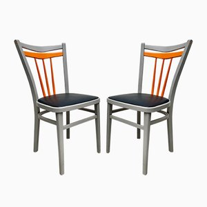 Mid-Century Kitchen Dining Chairs with Vinyl Seats, Set of 2
