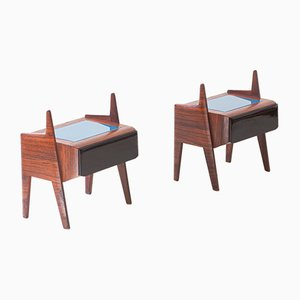 Italian Rosewood Nightstands with Glass Tops, 1950s, Set of 2