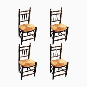 Antike rustikale Esszimmerstühle, 4er Set