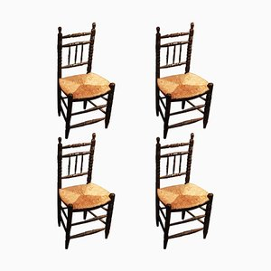 Antique Rustic Dining Chairs, Set of 4