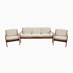 Mid-Century Cherrywood Living Room Set by Walter Knoll, 1960s, Set of 3