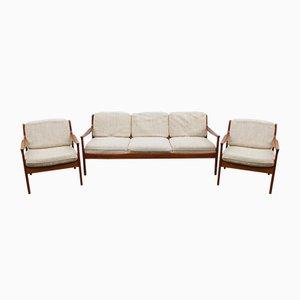 Set da salotto Mid-Century in ciliegio di Walter Knoll, anni '60, set di 3