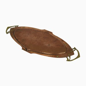 Antikes Jugendstil Martele Kupfer & Bronze Tablett