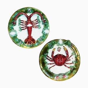 Dekorative Teller aus Majolika mit Krabben & Hummer, 1940er, 2er Set