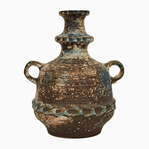 Deutsche Amphora Vase aus Keramik in Blau, Braun, Grün & Weiß, 1970er
