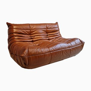 Brown Leather 2-Seat Togo Sofa by Michel Ducaroy for Ligne Roset, 1970s