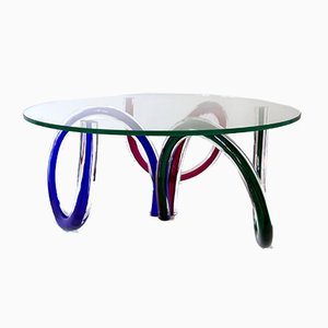 Italian Murano Art Glass Coffee Table by Maurice Barilone, 1980s