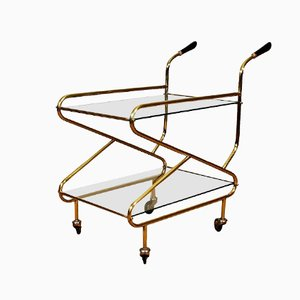 French Brass Bar Cart, 1950s