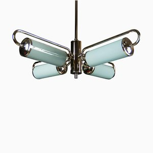 Bauhaus Chandelier with Blue Shades, 1930s