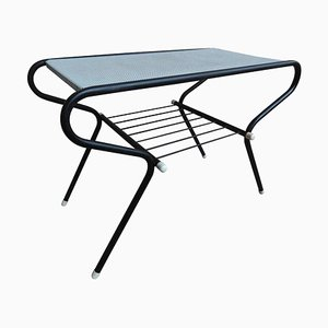 Vintage Black and White Metal Coffee Table by Mathieu Mategot, 1950s