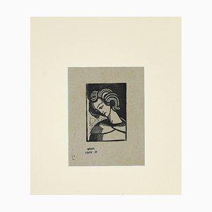 Helen Vogt - Portrait - Original Woodcut Print - Mid-20th Century