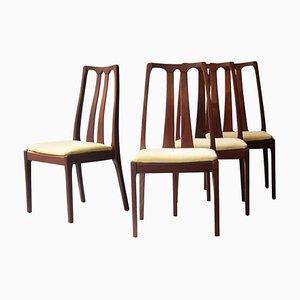 Teak Yellow Velvet Chairs, United Kingdom, 1970s, Set of 4