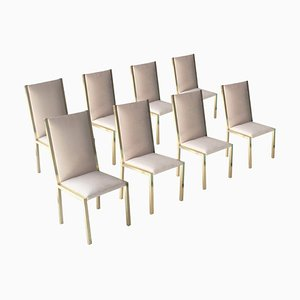 Brass and Gray Velvet Grey Chairs, France, 1970s, Set of 8
