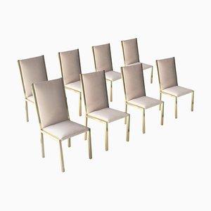 Graue Stühle mit Grauem Samtbezug, Frankreich, 1970er, 8er Set