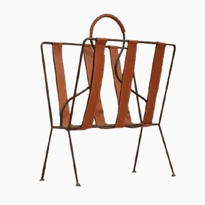 French Brown Leather & Metal Magazine Rack by Jacques Adnet