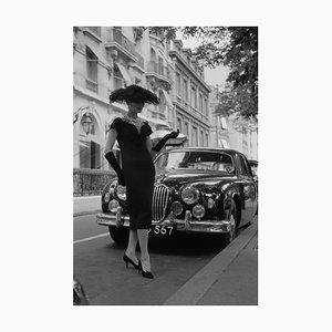 Eleganter Daywear Druck mit Silbergelatine Faser, 1957