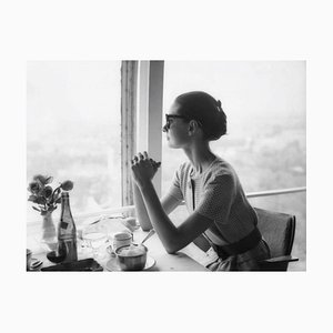 Lunch with Audrey Hepburn, Silver Gelatin Fibre Print, Oversized, 1958