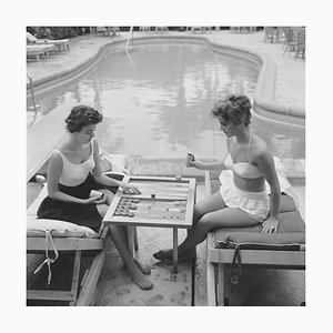 Backgammon by the Pool, 1959, Limited Estate Stamped, XL Large 2020