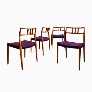 Danish Purple Teak 79 Dining Chairs by Niels Otto Møller for J.L. Møllers, 1950s, Set of 4