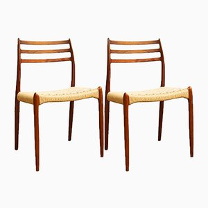 Danish Teak 78 Dining Chairs by Niels Otto Møller for J.L. Møllers, 1950s, Set of 2