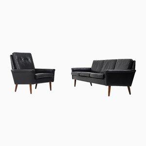 Mid-Century Danish Black Leather Sofas, 1950s, Set of 2