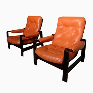 Vintage Danish Coja Leather Bentwood Lounge Chairs, 1970s, Set of 2