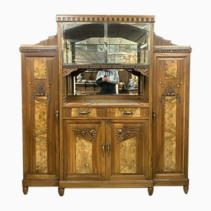 Art Deco Walnut Display Case / Buffet with Magnifier, 1920s