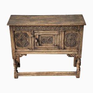 Kleiner Antiker Schrank oder Sideboard aus gebleichter Eiche