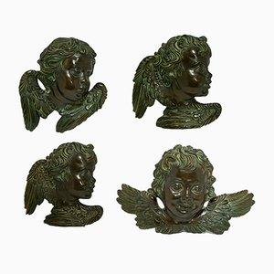 Chérubins Florentins en Céramique Peinte à la Main et Bronzée de Batignani, 1950s, Set de 4