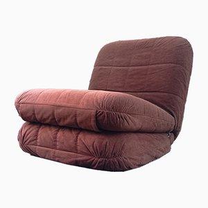 French Velvet Convertible Armchair, 1970s