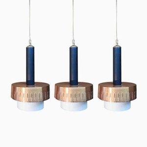 Italienische Mid-Century Deckenlampen aus Schwarzem Emaille & Opalglas im Stil von Stilnovo, 1950er, 3er Set
