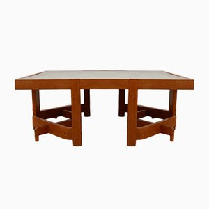Mid-Century Oak Coffee Table by Guillerme et Chambron