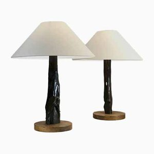 Sculptural French Ebony Table Lamps, 1950s, Set of 2