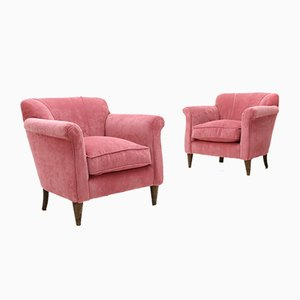 Pink Velvet Armchairs, 1960s, Set of 2