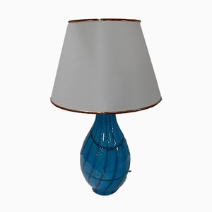 Weiße Tischlampe aus Glas, 1950er