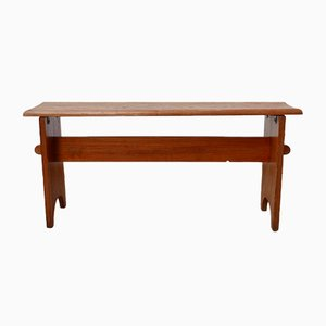 Mid-Century Swedish Brutalist Pine Low Bench