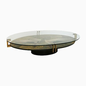 20th Century French Wood & Brass Coffee Table, 1920s