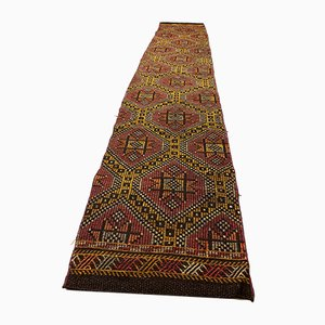 Turkish Red and Black Narrow Kilim Runner